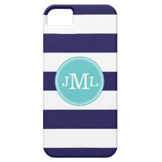 Navy Blue and Aqua Wide Stripe Monogram iPhone 5 Cases