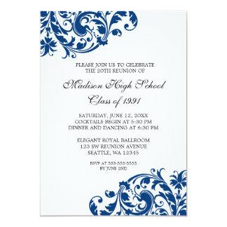 Navy Blue and Black Flourish Class Reunion 13 Cm X 18 Cm Invitation Card
