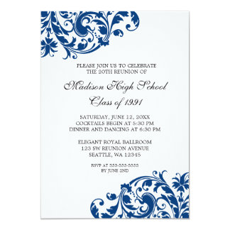 Navy Blue and Black Flourish Class Reunion Card