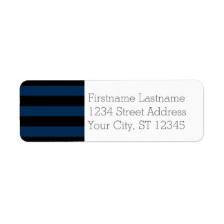 Navy Blue and Black Rugby Stripes with Custom Name Return Address Label