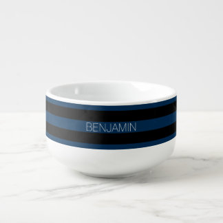 Navy Blue and Black Rugby Stripes with Custom Name Soup Mug