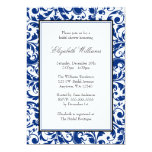 Navy Blue and Black Swirl Damask Bridal Shower Invite