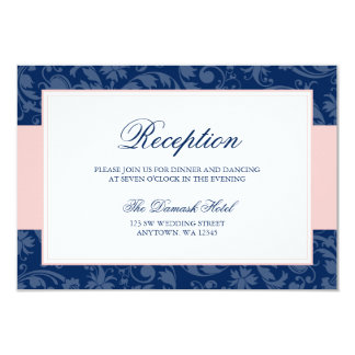 Navy Blue and Blush Pink Damask Swirl Reception Card