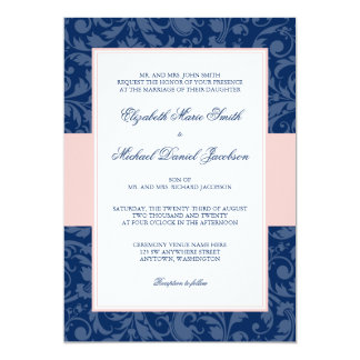 Navy Blue and Blush Pink Damask Swirl Wedding Card