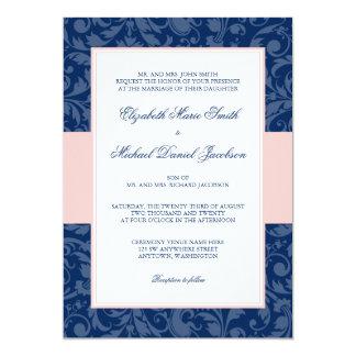 Navy Blue and Blush Pink Damask Swirl Wedding Card