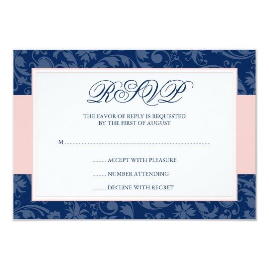 Navy Blue and Blush Pink Damask Swirl Wedding RSVP Card