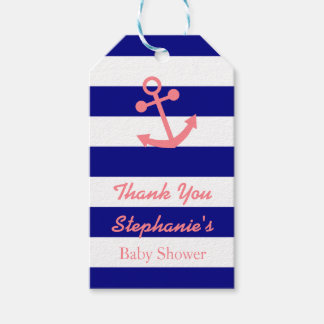 Navy Blue and Blush Pink Nautical Baby Shower Gift Tags