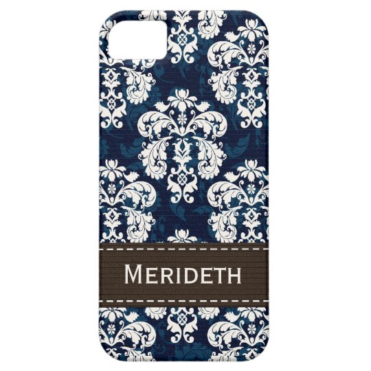 Navy Blue and Brown Damask iPhone 5 Case
