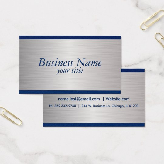 Navy Blue and Brush Silver Steel Design Business