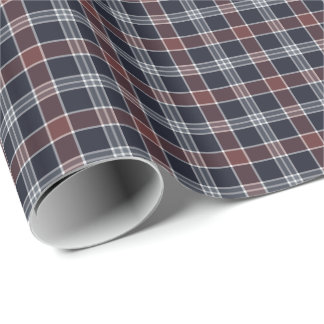 Navy Blue and Burgundy Plaid Pattern Wrapping Paper