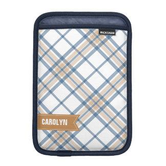 Navy Blue and Caramel Plaid iPad Mini Sleeve