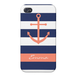 Navy Blue and Coral Anchor Monogram Case iPhone 4 Case
