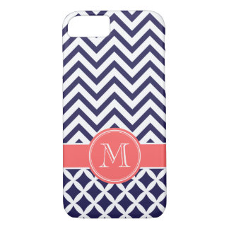 Navy Blue and Coral Chevron Custom Monogram iPhone 8/7 Case