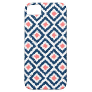 Navy Blue and Coral Diamond Ikat Pattern iPhone 5 Cover