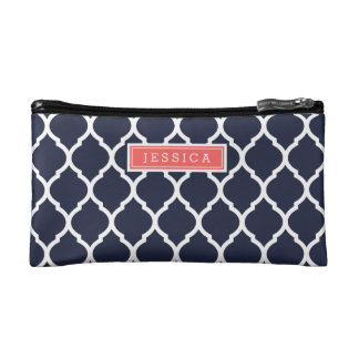 Navy Blue and Coral Moroccan Quatrefoil Monogram Makeup Bag