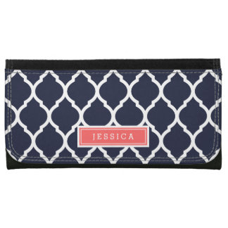 Navy Blue and Coral Moroccan Quatrefoil Monogram Wallets