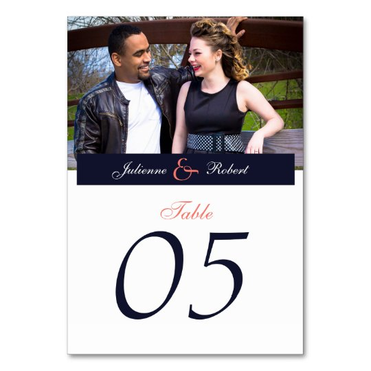 Navy Blue and Coral Photo Wedding Table Cards
