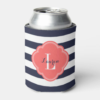 Navy Blue and Coral Preppy Stripes Monogram Can Cooler