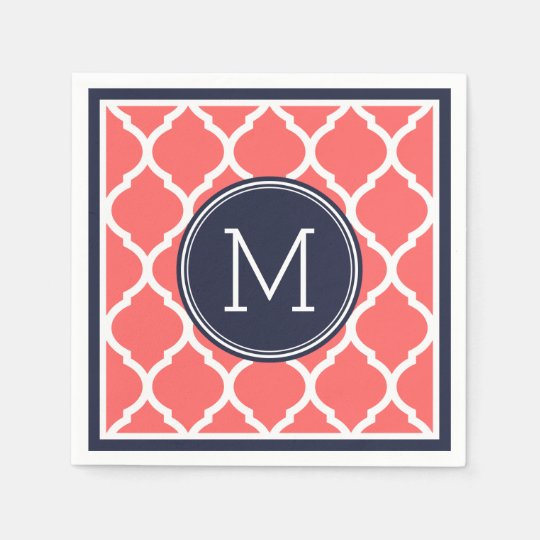 Navy Blue and Coral Quatrefoil Wedding Monogram Disposable Serviette