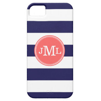 Navy Blue and Coral Wide Stripe Monogram iPhone 5 Cover