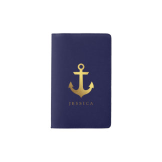 Navy Blue and Faux Gold Foil Anchor Pocket Moleskine Notebook