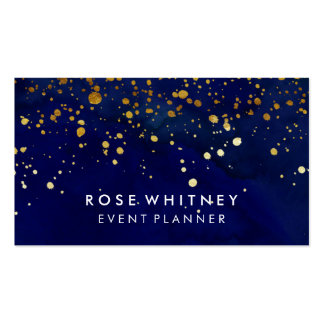 Navy Blue and Faux Gold Glitter Business Card