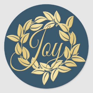 Navy Blue and Gold Bay Leaf Joy Wreath Classic Round Sticker