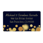Navy Blue and Gold Bokeh Address Labels