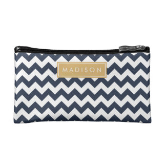 Navy Blue and Gold Chevron Custom Monogram Cosmetic Bag