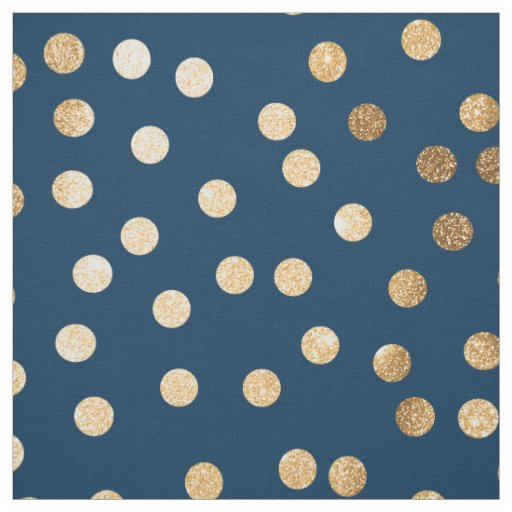 Navy Blue and Gold City Dots Fabric