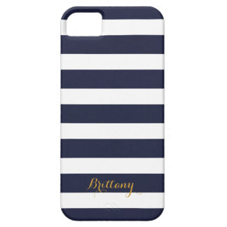 Navy Blue and Gold Classic Stripes Monogram iPhone 5 Cover