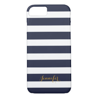 Navy Blue and Gold Classic Stripes Monogram iPhone 7 Case