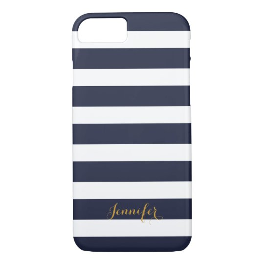 Navy Blue and Gold Classic Stripes Monogram iPhone