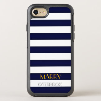 Navy Blue and Gold Classic Stripes Monogram OtterBox Symmetry iPhone 8/7 Case