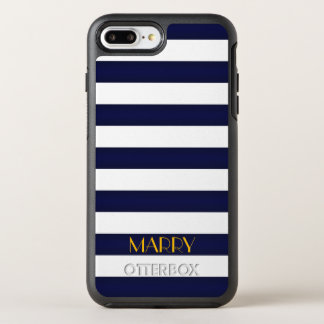 Navy Blue and Gold Classic Stripes Monogram OtterBox Symmetry iPhone 8 Plus/7 Plus Case
