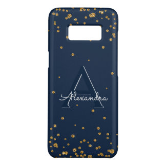 Navy Blue and Gold Confetti Monogram Case-Mate Samsung Galaxy S8 Case
