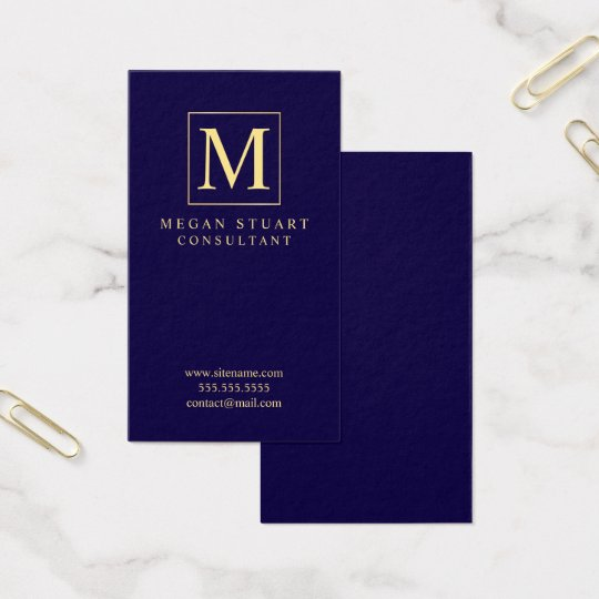 Navy Blue and Gold Elegant Monogram Business Card