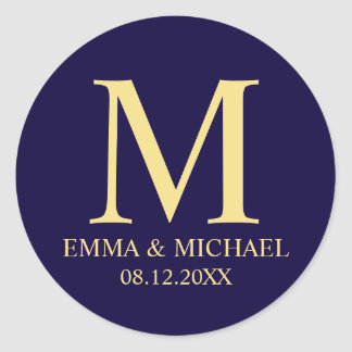 Navy Blue and Gold Elegant Monogram Wedding Favor Classic Round Sticker