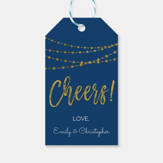 Navy Blue and Gold Foil Cheers Gift Tag