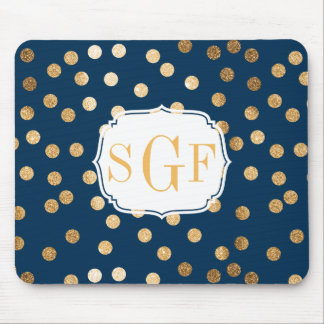 Navy Blue and Gold Glitter Dots Monogrammed Mouse Mat