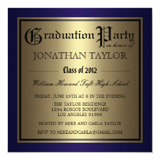 Navy Blue and Gold Graduation 13 Cm X 13 Cm Square Invitation Card