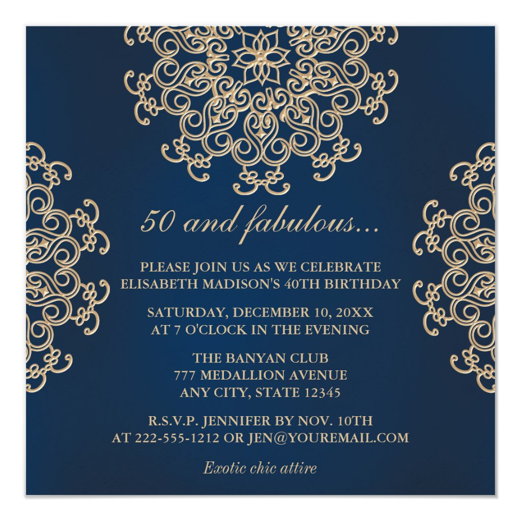 Navy Blue and Gold Indian Style 50th Birthday