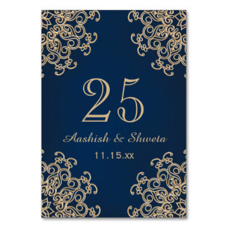 Navy Blue and Gold Indian Style Wedding Number Card