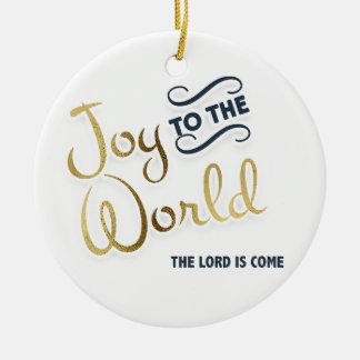 Navy Blue and Gold Joy to World The Lord is Come Christmas Ornament