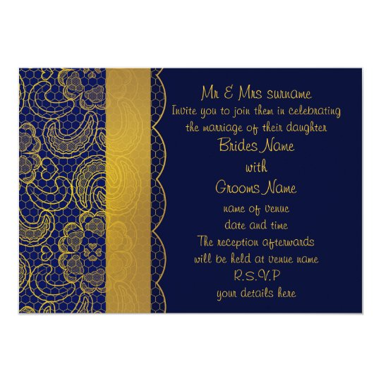 Navy Blue and Gold Lace Wedding Invites