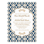 Navy Blue and Gold Moroccan Wedding Invitations