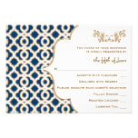 Navy Blue and Gold Moroccan Wedding Response Cards