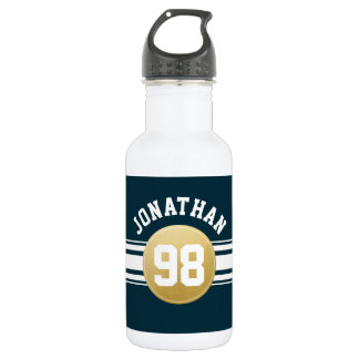 Navy Blue and Gold Sports Jersey Stripes Name 532 Ml Water Bottle