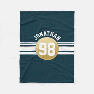 Navy Blue and Gold Sports Jersey Stripes Name Fleece Blanket