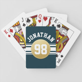 Navy Blue and Gold Sports Jersey Stripes Name Playing Cards